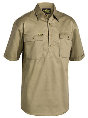 bisley closed front cotton drill shirt - short sleeve - bsc1433