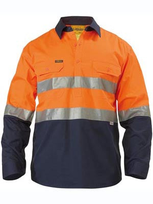 Bisley BSC6896 2 TONE HI VIS COOL LIGHTWEIGHT CLOSED FRONT SHIRT 3M REFLECTIVE TAPE - LONG SLEEVE