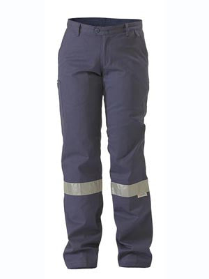 bisley ladies drill pant 3m reflective tape - bpl6007t