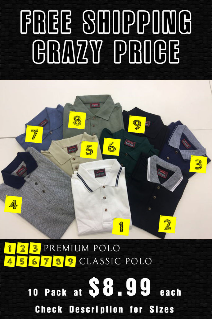 10 Pack - Premium & Classic POLO (Please state POLO number, Size and Quantity in shopping cart notes area)