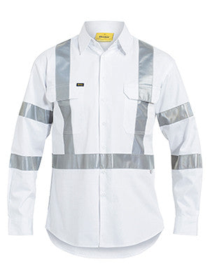 bisley 3m taped white drill shirt - bs6807t