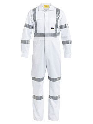 bisley 3m taped white drill coverall - bc6806t