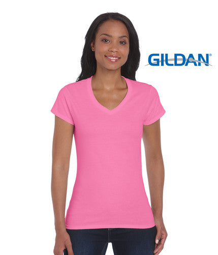Gildan 64v00l softstyle ladies v neck t shirt dfo workwear for Gildan v neck t shirts for men