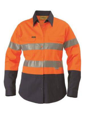 bisley ladies 2 tone hi vis drill shirt long sleeve - 3m reflective tape - blt6456