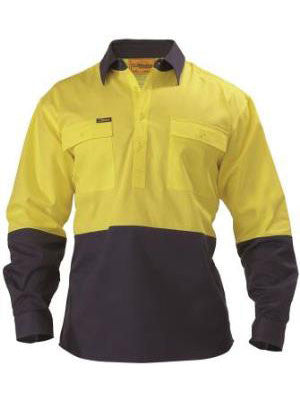 Bisley 2 Tone HI VIS Drill Shirt - Long Sleeve - BSC6267