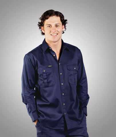 mens cotton drill work shirt - long sleeve