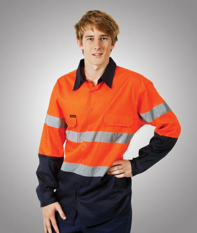 hi vis 190 gsm cotton drill shirts with tape - long sleeve
