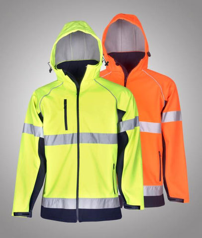 blue whale hi vis soft shell jackets day use with hood J97