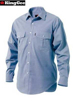 KingGee Men's Double Pocket Cotton-Rich Oxford Weave Shirt (Long-Sleeve)-K04240