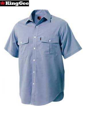 KingGee Men's Cotton-Rich Oxford Weave Shirt Finish (Short-Sleeve)-K04270