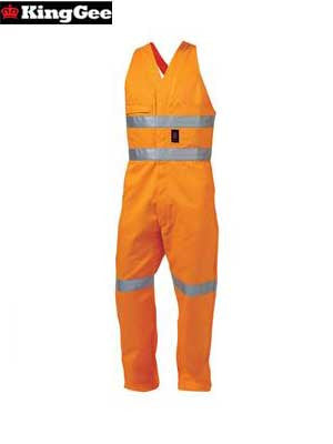 kinggee-k52075 reflective sleeveless drill overall