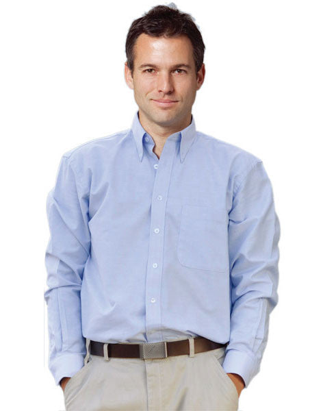 benchmark-m7902 men's washed oxford long sleeve shirt