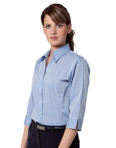 benchmark-m8013 women's fine chambray 3/4 sleeve shirt