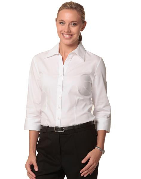 benchmark-m8040q women's cvc oxford 3/4 sleeve shirt