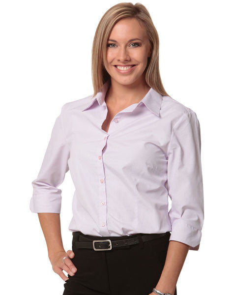 benchmark-m8360q women's mini check 3/4 sleeve shirt