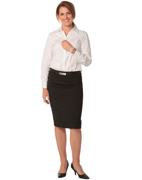 benchmark-m9470 women's wool stretch mid length lined pencil skirt