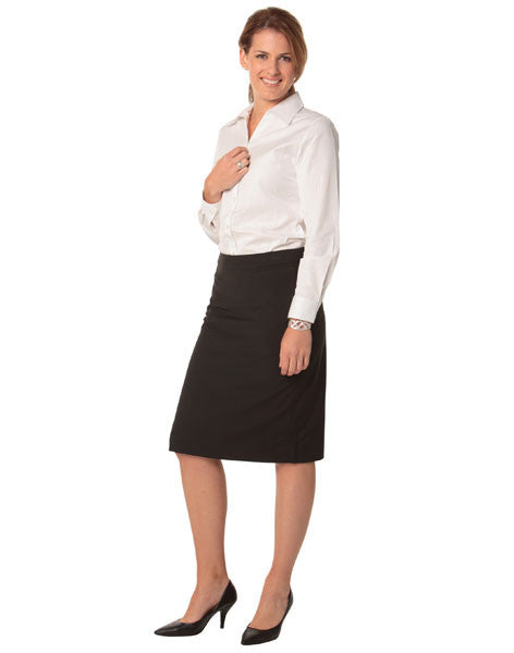 benchmark-m9472 women's poly/viscose stretch stripe mid length lined pencil skirt