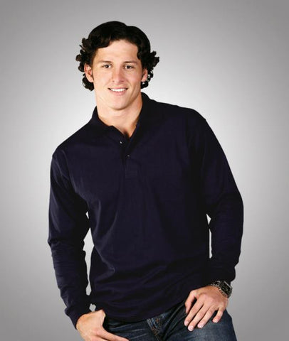 Blue Whale premium pre-shrunk cotton polo - long sleeve P12