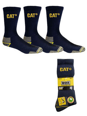 cat workwear crew sock 3 pack (size: medium) - navy