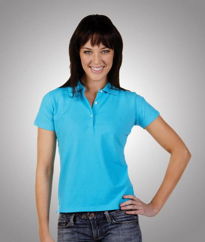 blue whale ladies cotton lycra pique polo (P23)