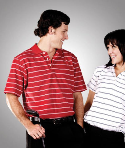 adults striped cotton pique polo