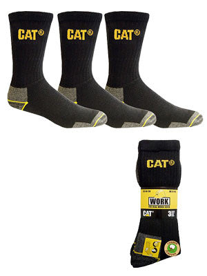 cat workwear crew sock 3 pack (size: large) - black