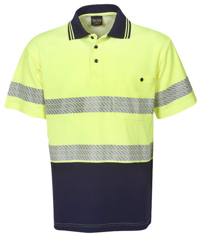 Blue whale hi vis segment taped cotton back polo short sleeve (P77)