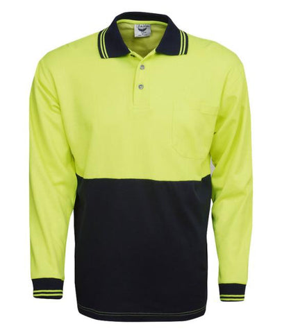 cotton back true dry hi vis polo - long sleeve