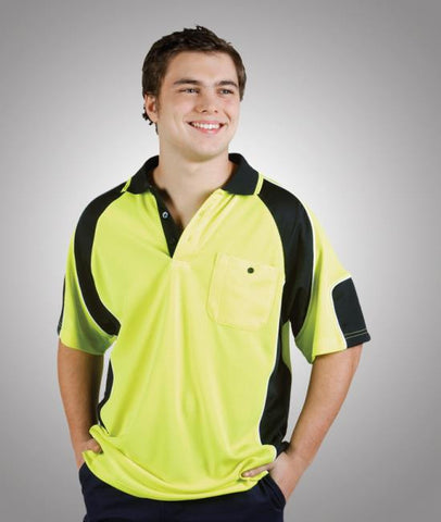 hi vis cooldry side panel polo - short sleeve