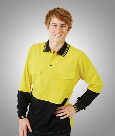 blue whale 100% cotton hi vis polo - long sleeve-p93