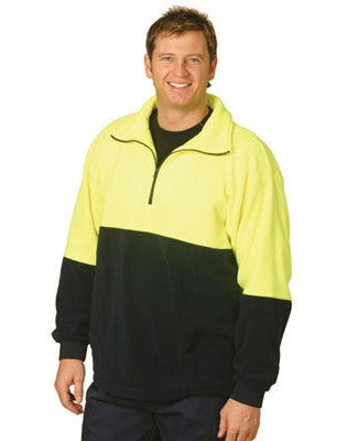winning spirit-sw07 hi vis polar fleece half zip pullover