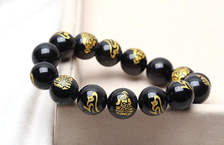 Black Obsidian Carved Lucky Amulet Beaded Bracelet