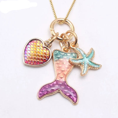 Cute Mermaid and Starfish Necklace