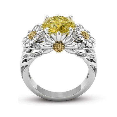 Silver Sunflower Ring