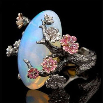 Enchanted Tree Black Gold Opal Ring
