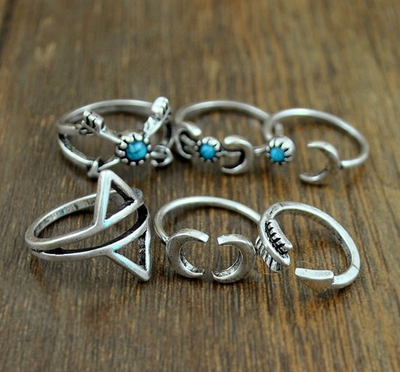 Turquoise Moon Arrow Ring Set