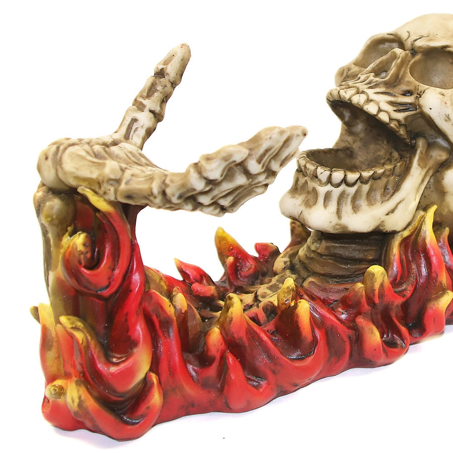 Flaming Skull Fancy Wine Bottle Holder