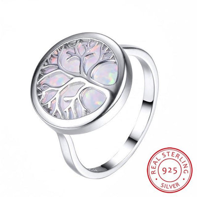 TREE OF LIFE SILVER OPAL RING