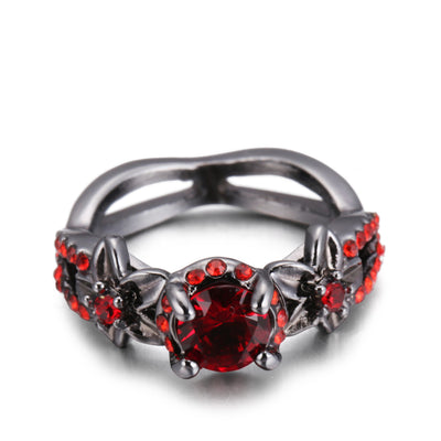 Ruby Red Flower Ring