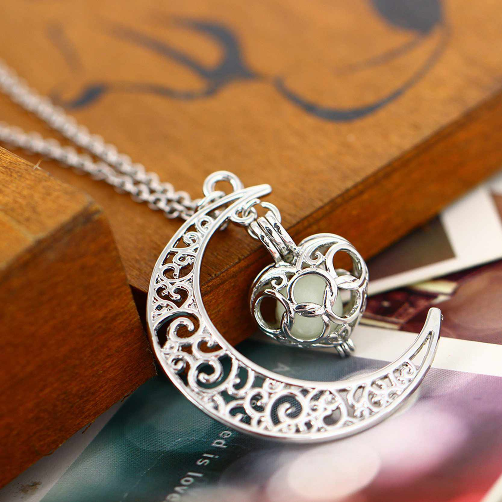 Glowing moon heart silver plated necklace treasure fan glowing moon heart silver plated necklace aloadofball Image collections