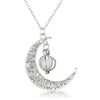 Glowing  Silver Crescent Moon Necklace