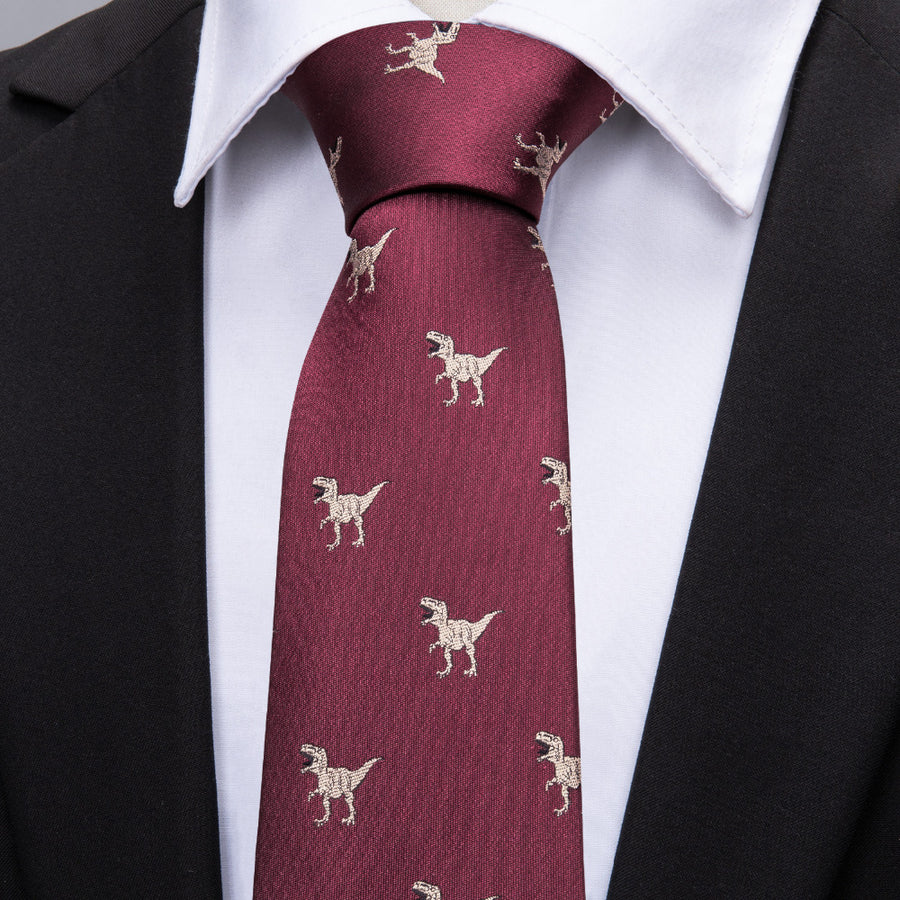 Silk Dinosaur Neck Tie Set