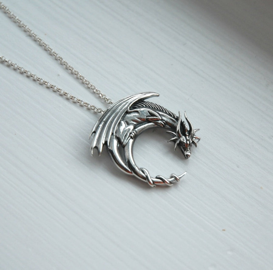 Winged Dragon Moon Necklace