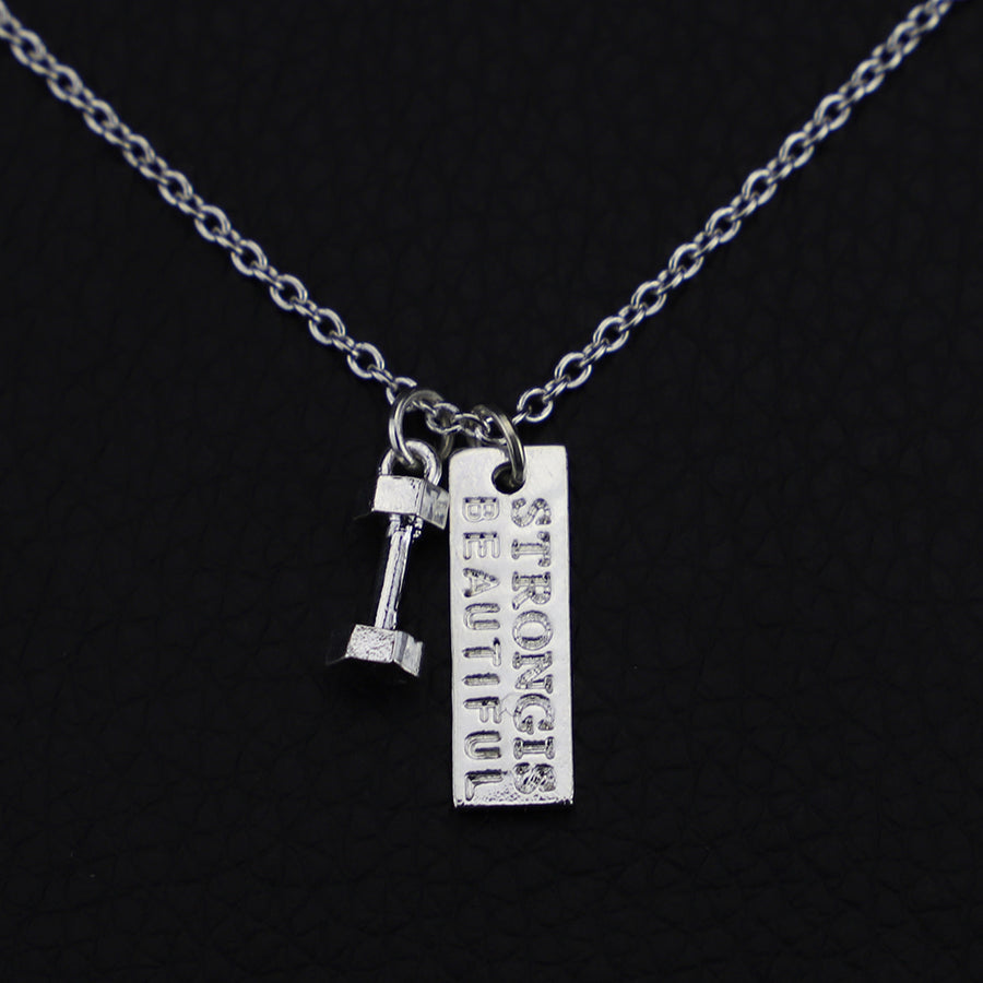 ''Strong Is Beautiful'' Dumbbell Fitness Pendant Necklace