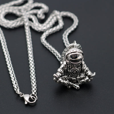 Meditating Zen Spaceman Astronaut Pendant Necklace