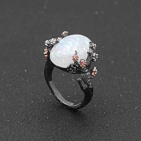 Enchanted Tree Black Gold Opal Ring Treasure Fan
