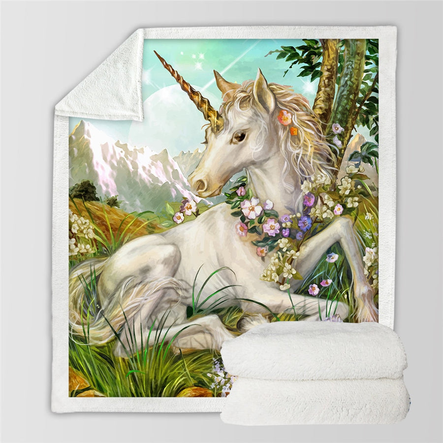 SUPER SOFT MICROFIBER 3D Unicorn Blanket