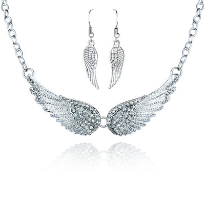 Silver Angel Wings Necklace and Earrings Set