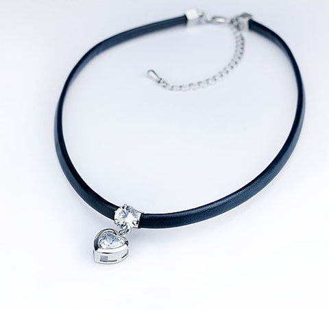 Crystal Heart Pendant Choker Necklace