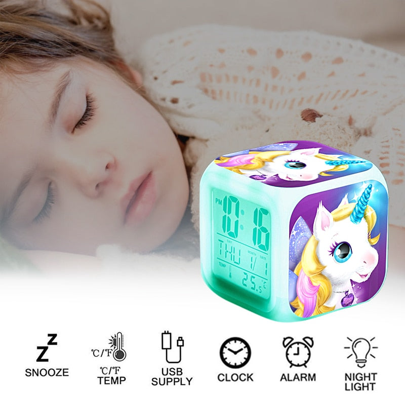 7 Colors Unicorn LED Alarm Clock